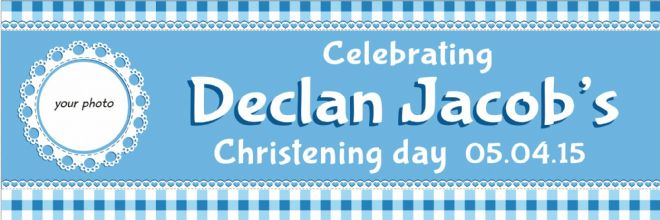 Blue gingham boy's Christening banner